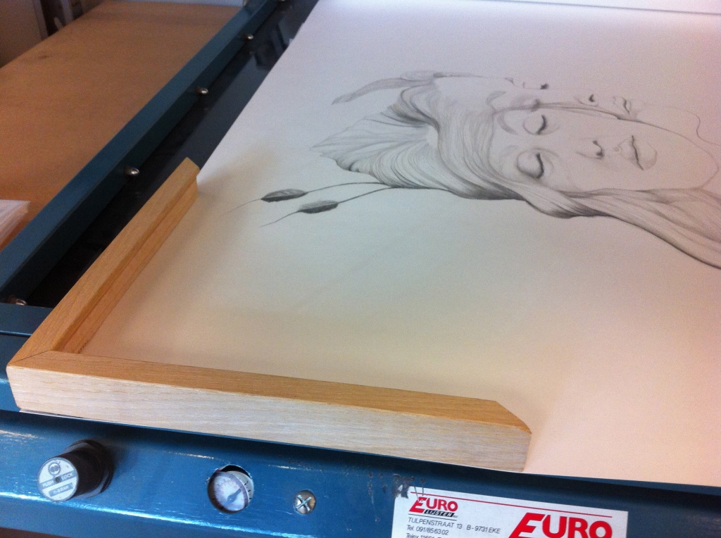 """""""Your time will come"""" - Anna Bülow. Choosing a frame for this large scale drawing .."""